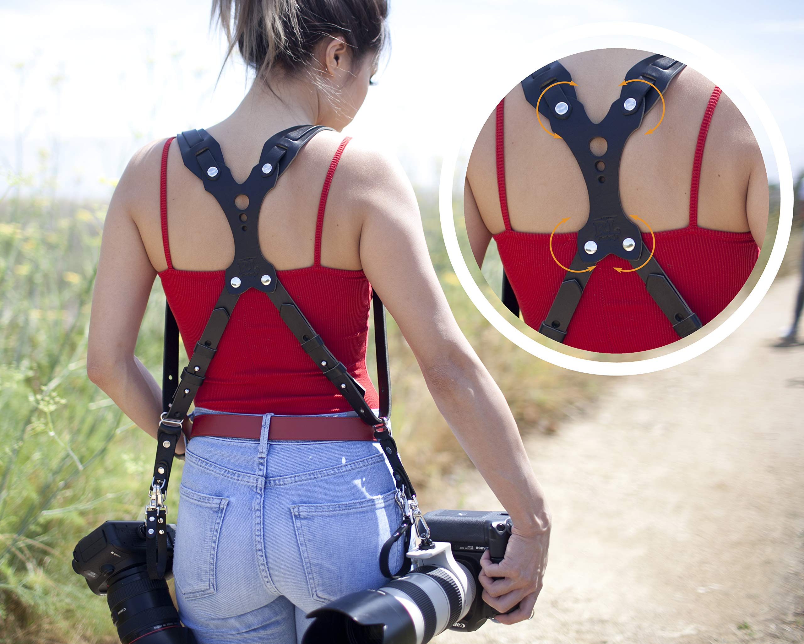 Clydesdale Lite-Dual Handmade Leather Camera Harness, Sling & Strap RL Handcrafts. DLSR, Mirrorless, Point & Shoot Made in The USA (Black, X-Large)