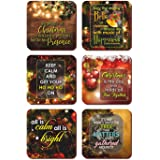 Funky Store Shiny Quote Christmas Wooden Coasters for Dining Table Set of 6 (3.5 x 3.5 inches)