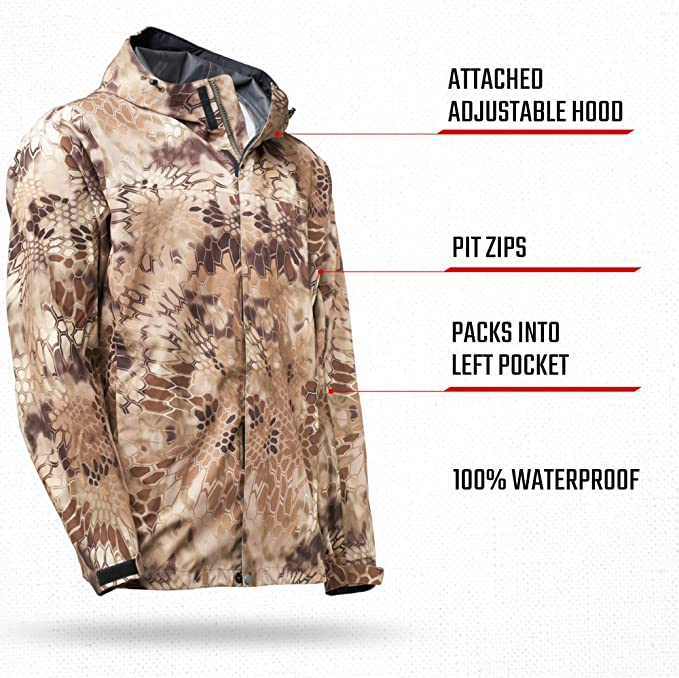 in 3D Layered Camouflauge Rain Gear Collection Seam-Taped Kryptek Jupiter Camo Rain Jacket 100/% Waterproof