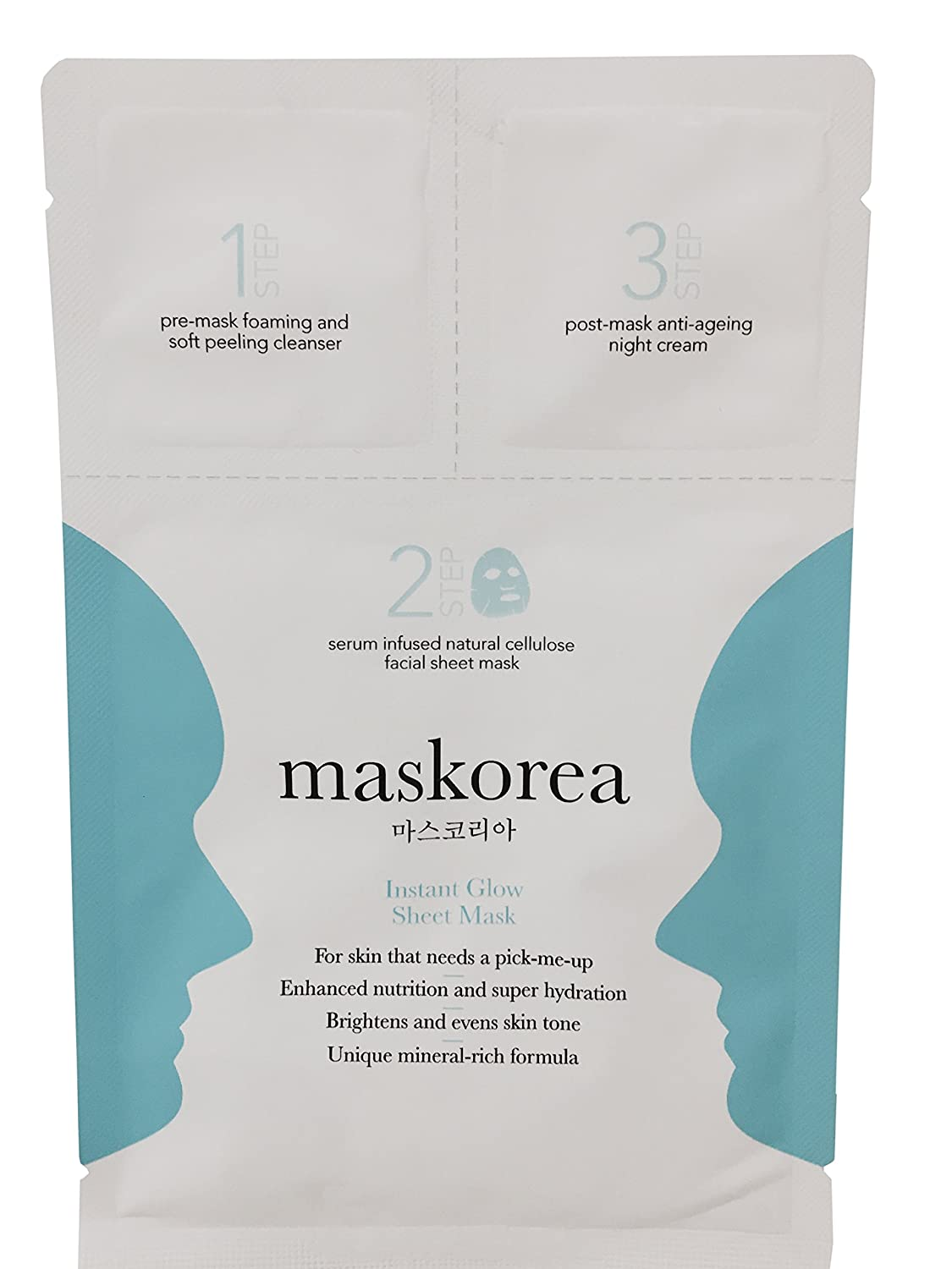 maskorea 3-step face sheet mask: INSTANT GLOW