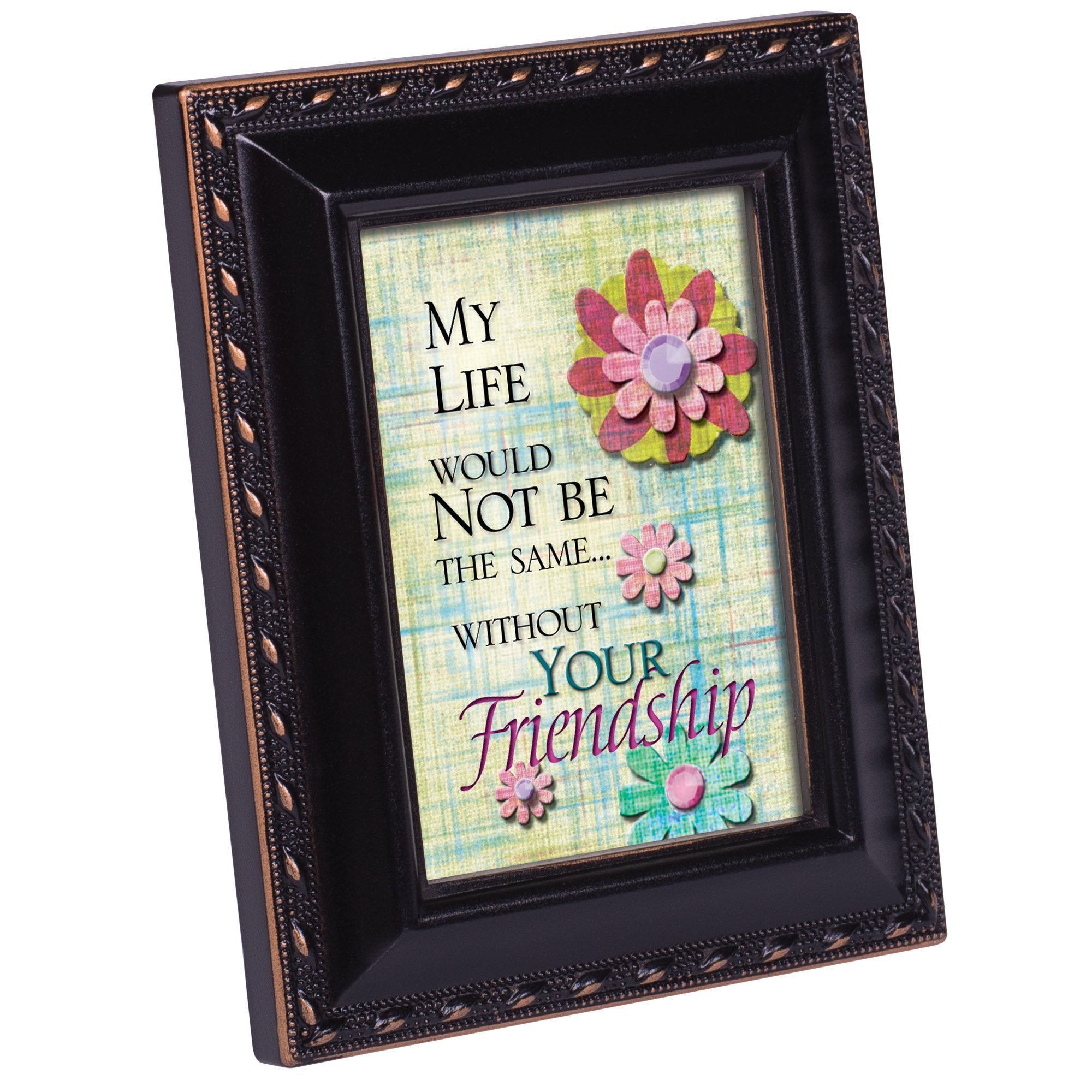 Cottage Garden Life Would Not Be The Same Black Rope Trim Tiny Frame with Magnet and Easel