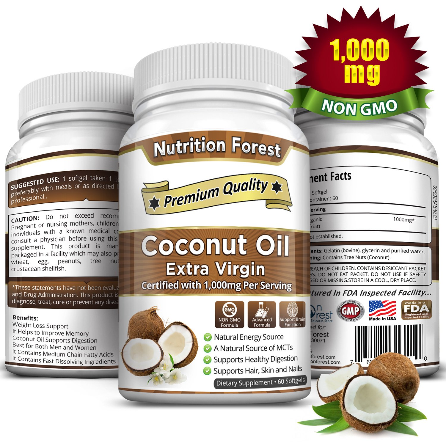 Organic Coconut Oil Capsules / Softgel 1000mg/Serving Extra Virgin, Non GMO for Weight Loss, Better Hair Growth and Healthy Skin. by Nutrition Forest