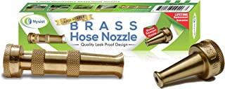 product image for Hose Nozzle ~ Solid Brass ~ Adjustable Spray Patterns ~ Made in USA ~ with Bonus High Pressure Sweeper Nozzle