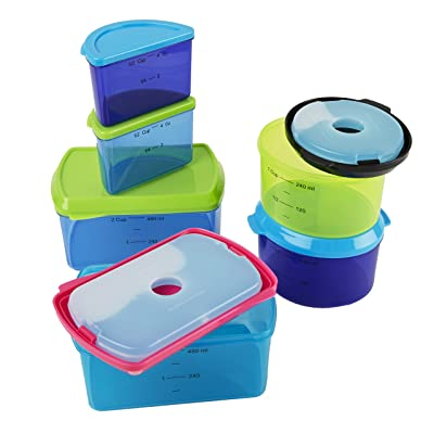 Fit & Fresh Kids' Reusable Lunch Box Container Set with Built-In Ice Packs, 14-Piece Healthy Lunch and Snack Kit, BPA-Free Microwave Safe, Portion Control: Kitchen & Dining