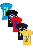 T2F Kids Boys' T-shirt (Pack of 5)- Red-Black-Yellow-Blue-Navy