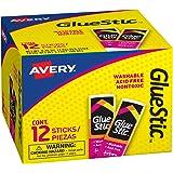 Avery Glue Stic White, 0.26 oz., Washable, Nontoxic, Permanent Adhesive, 12 Glue Sticks (00166)