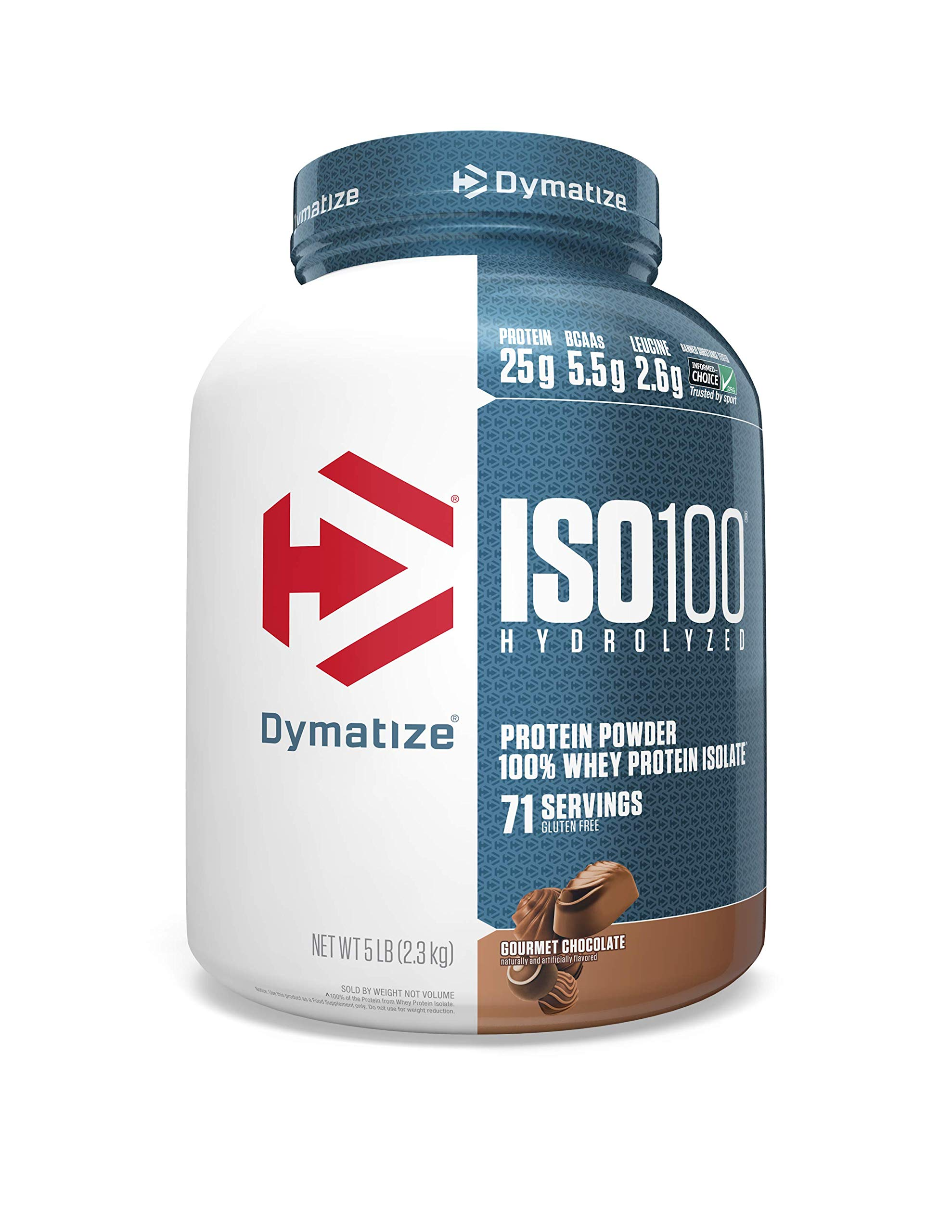 Dymatize Nutrition ISO 100, Whey Protein Powder, Gourmet Chocolate, 5 Pound