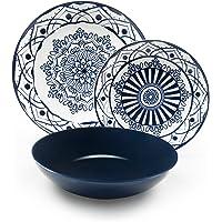 Excelsa Boheme Blue Servicio de Platos, Porcelana, Azul