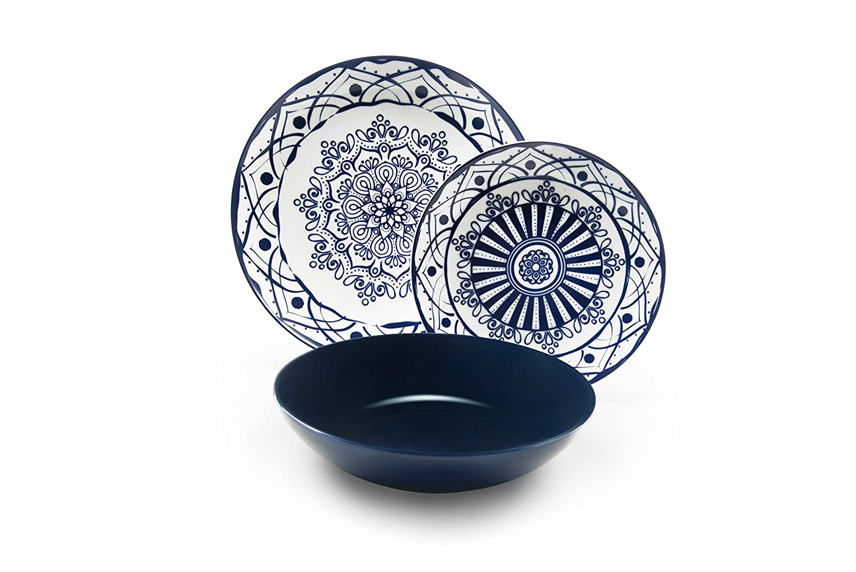 Excelsa Boheme Blue Servizio di Piatti, Porcellana, Blu, 18 Pezzi