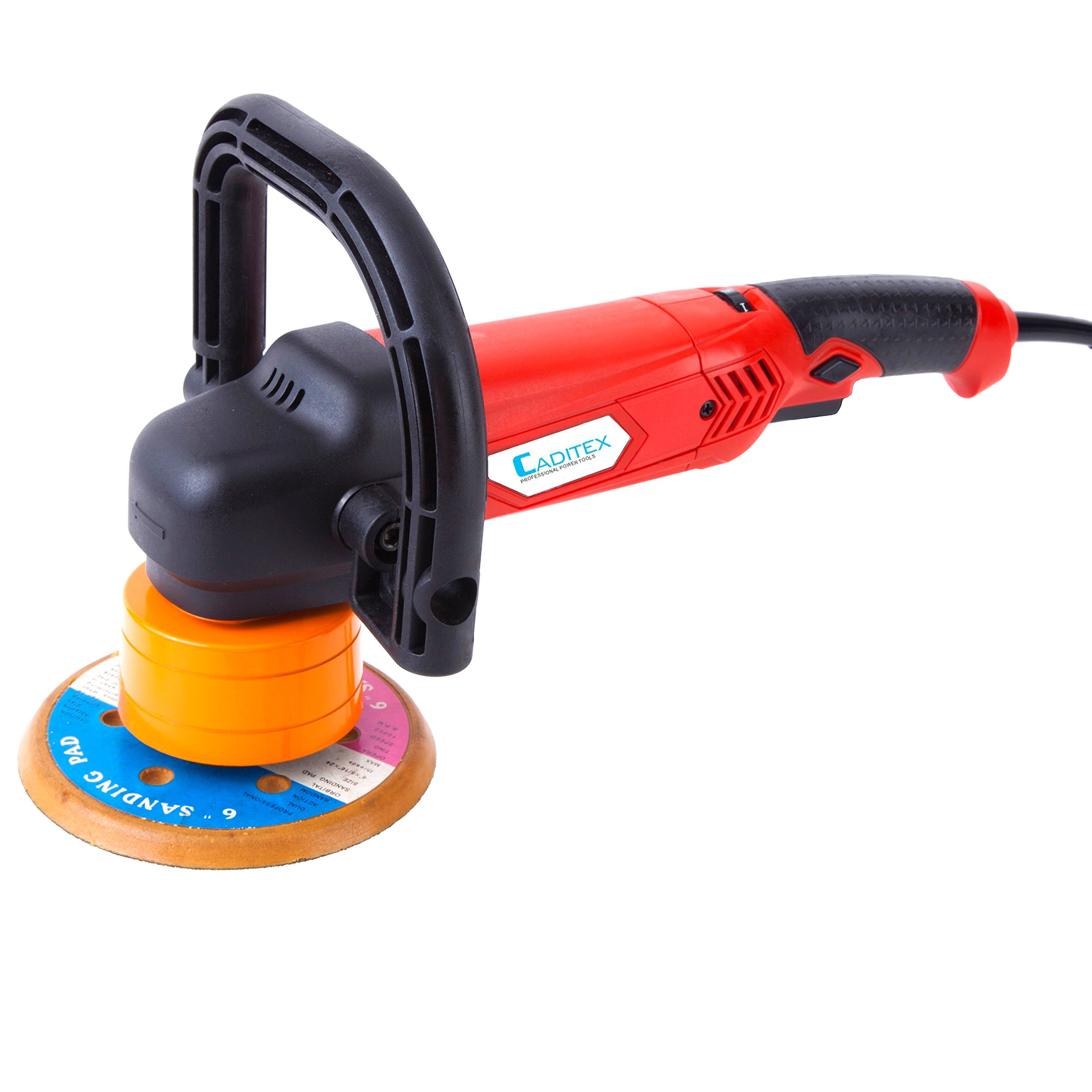 CADITEX Brand 7.5-Amp 5-inch Random Orbit Polisher with 1 Parabolic Disc, 1 Sponge Tray, 1''D'' Handle and 1 Inner Hexagon Spanner