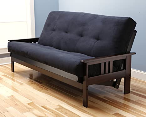 Jerry Sales Full Size Excelsior Espresso Futon Frame w/ 8 Inch Innerspring Mattress Sofa Bed Wood Futons (Black Matt and Frame Only (Full Size))