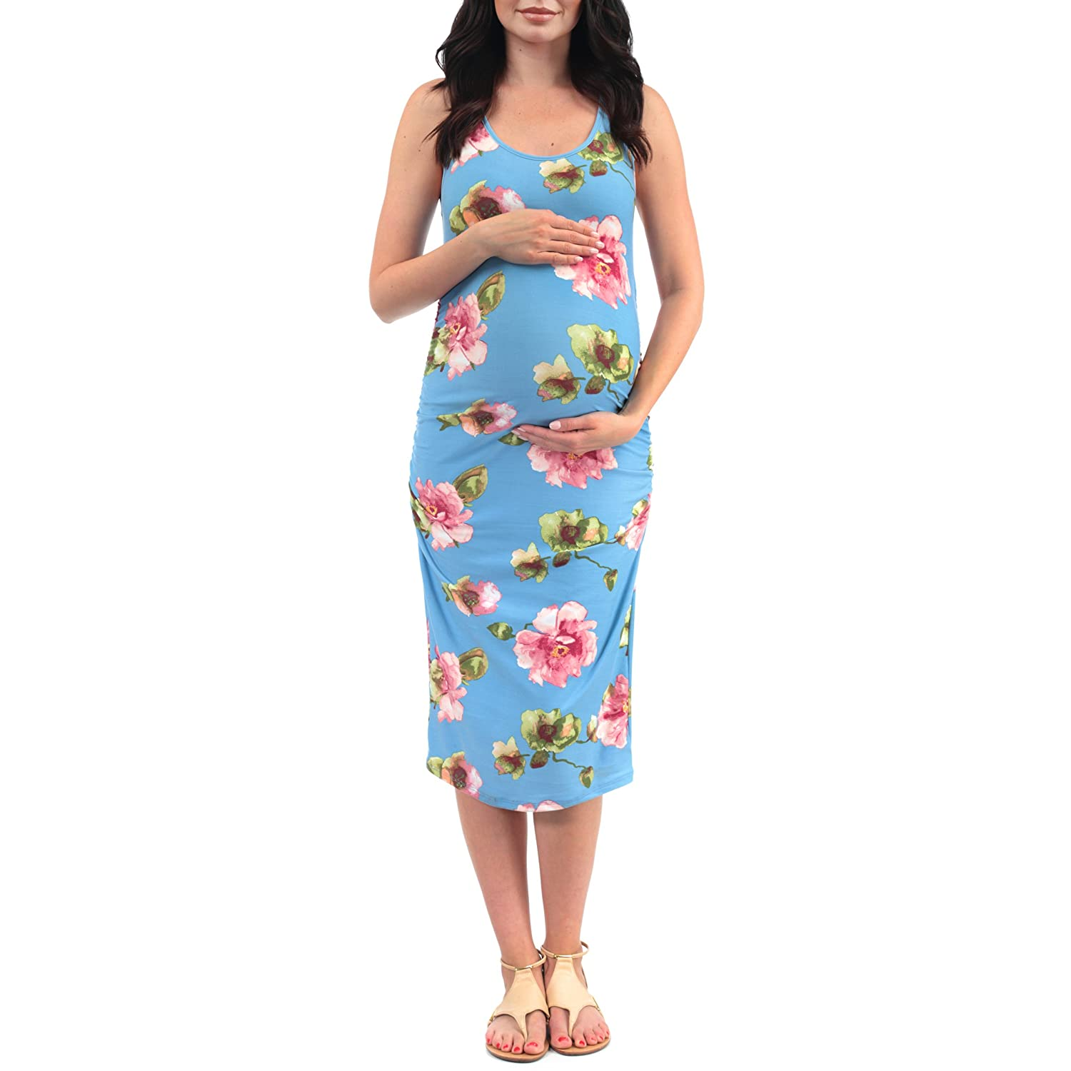 c79ece58d5a02 Women's Side Ruched Tank Maternity Dress - Made in USA at Amazon Women's  Clothing store: