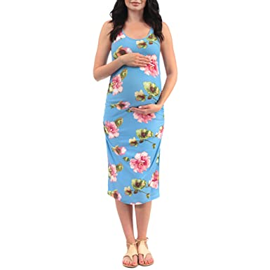 d661e2ebf2ec8 Women's Side Ruched Tank Maternity Dress - Made in USA at Amazon ...