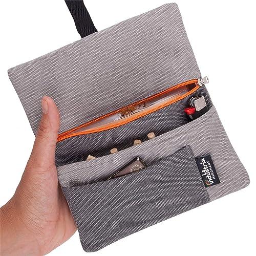 Portatabacco astuccio custodia porta tabacco sigarette cartine filtri tasca con doppia clip in eco pelle Fango