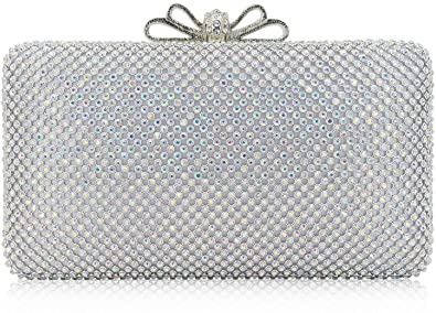 3ad22c8078 Dexmay Bling Rhinestone Crystal Clutch Purse Bow Clasp Women Evening Bag  for Bridesmaid Wedding Party AB