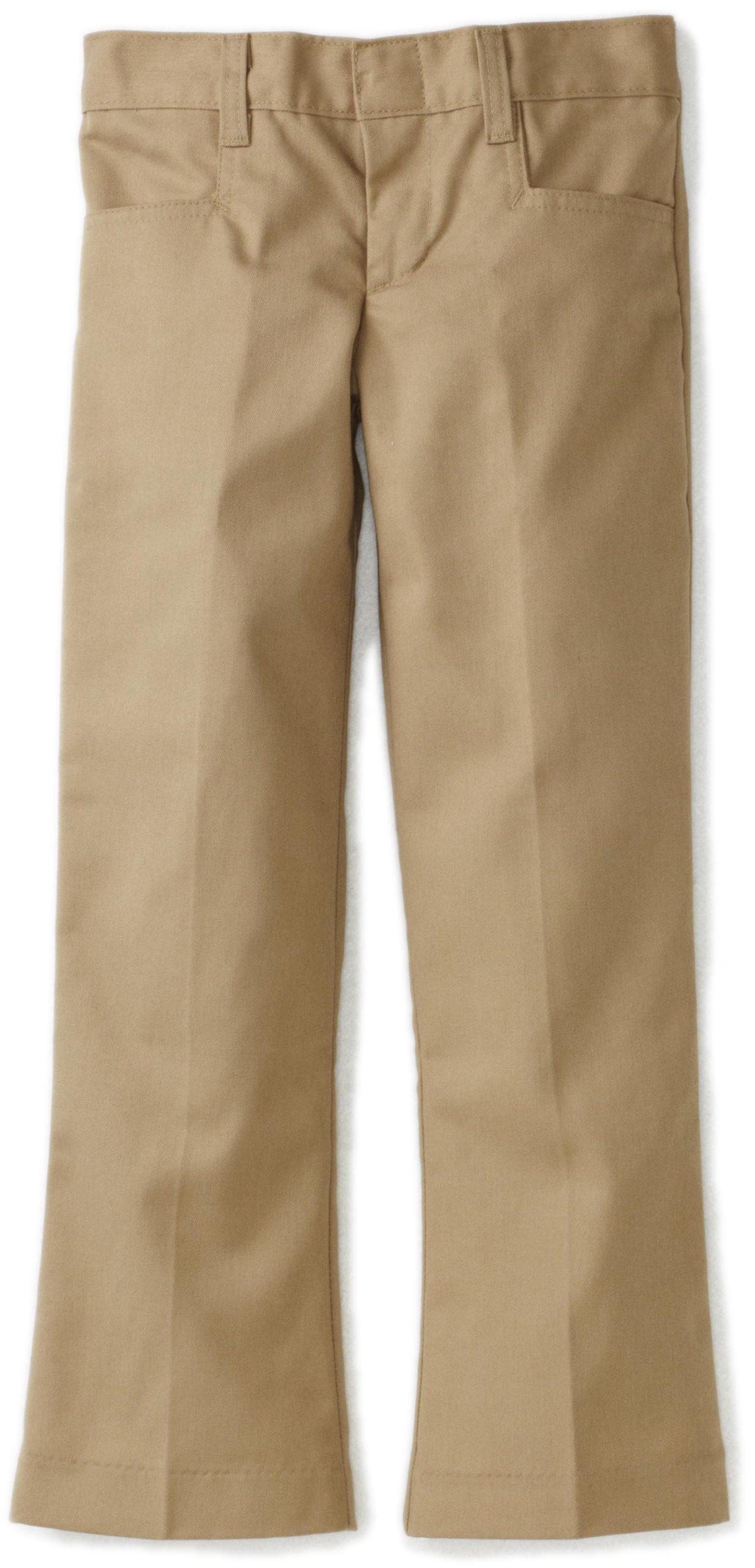 Dickies Little Girls' Flare Bottom Pant, Khaki, 6x Slim