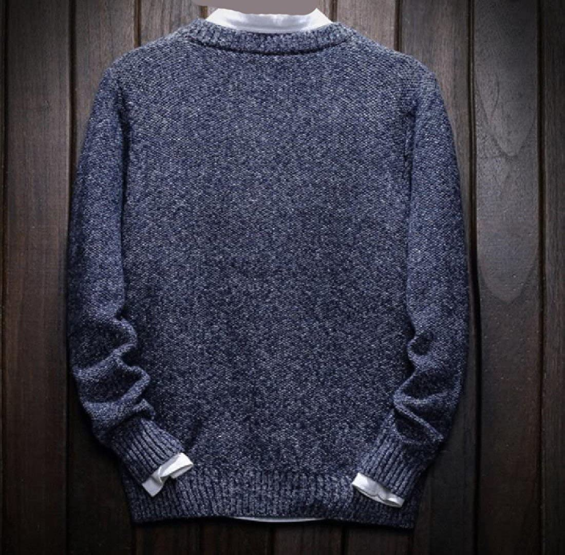 Winwinus Men Simple Cozy Students Solid-Colored Pullover Oversized Sweater Blue L