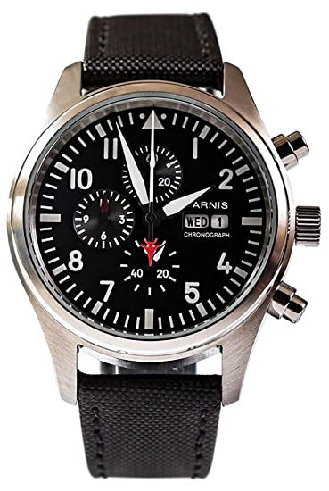 Reloj de aviador Parnis 9042 cronógrafo miyota 42 mm acero inoxidable pulsera de cuero textil: Amazon.es: Relojes