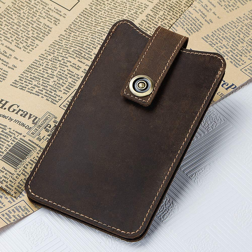 GYFY Mens Thin Leather Phone Bag Solid Color Fashion Retro Waist Buckle Leather Wallet
