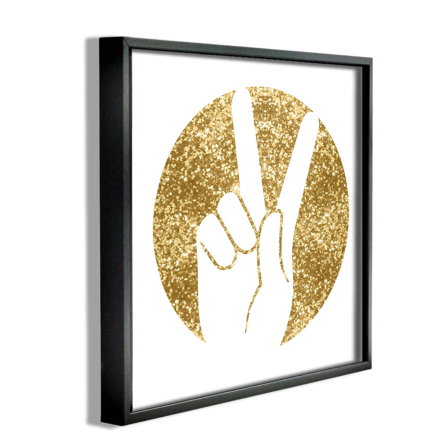 Proudly Made in USA Stupell Home D/écor Peace Hand Gold Wall Plaque Art 12 x 0.5 x 12