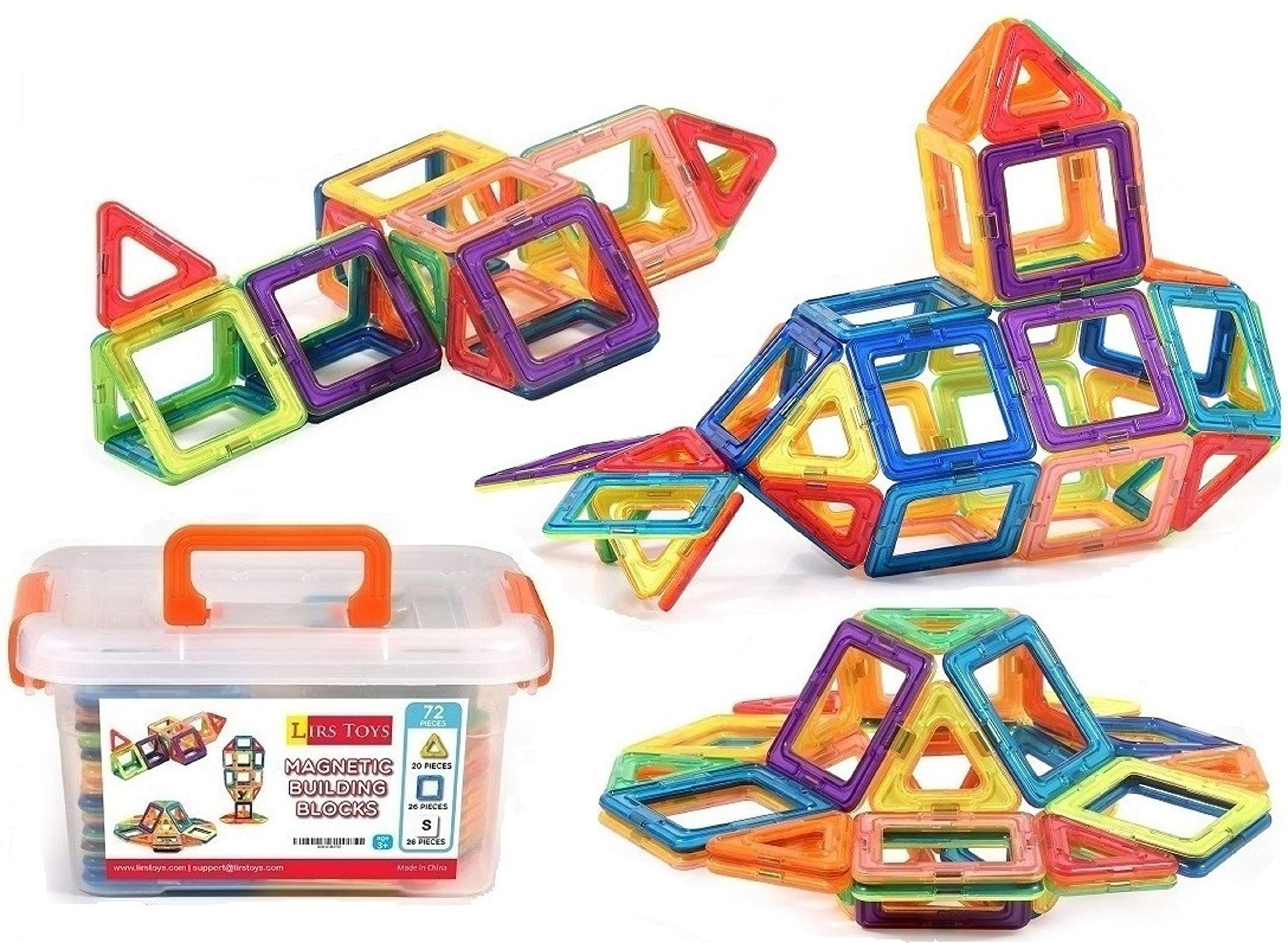 LIRS TOYS Magnetic Building Blocks Toy - 72 pcs Set of Fun, Creative, Educational 3D Construction. Plastic Tiles for Kids Age 3+ with Carry Case and Alphabet Squares. for Boys and Girls by LIRS TOYS