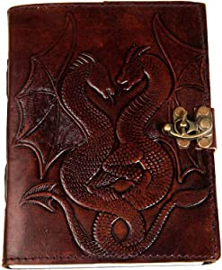 Urban Leather Book of Shadows Magic Spells- Double Dragon Embossed Bullet Journal for Men Women, Sketchbook Scrapbook Drawing Writing Notebook Book, Brown/Unlined Paper