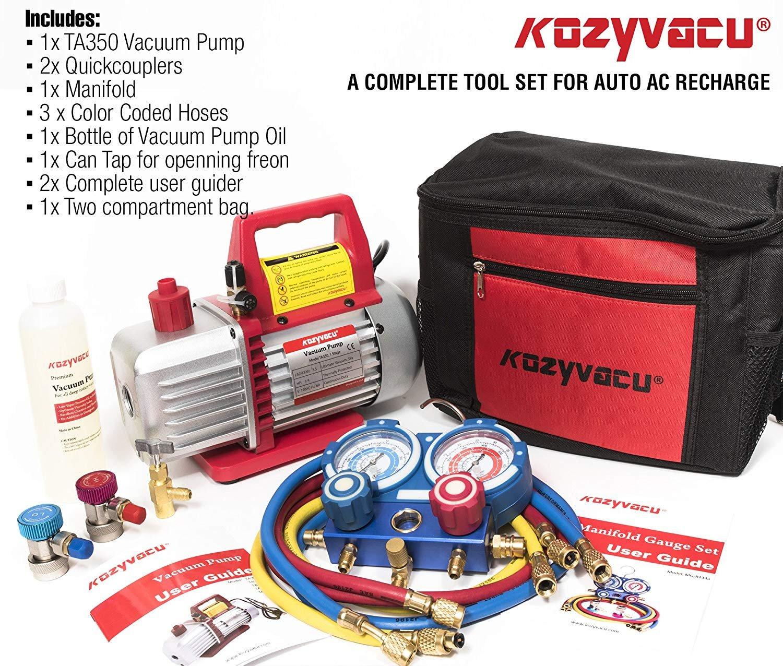 Kozyvacu AUTO AC Repair Complete Tool Kit with 1-Stage 3.5 CFM Vacuum Pump, Manifold Gauge Set, Hoses and its Acccessories by Kozyvacu (Image #3)