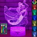 YeeSeeJee Mermaid Toys 3D Night Light with 16 Colors Adjustable Remote