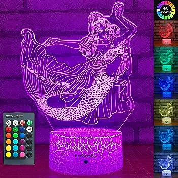 YeeSeeJee Mermaid Toys 3D Night Light with 16 Colors Adjustable Remote
