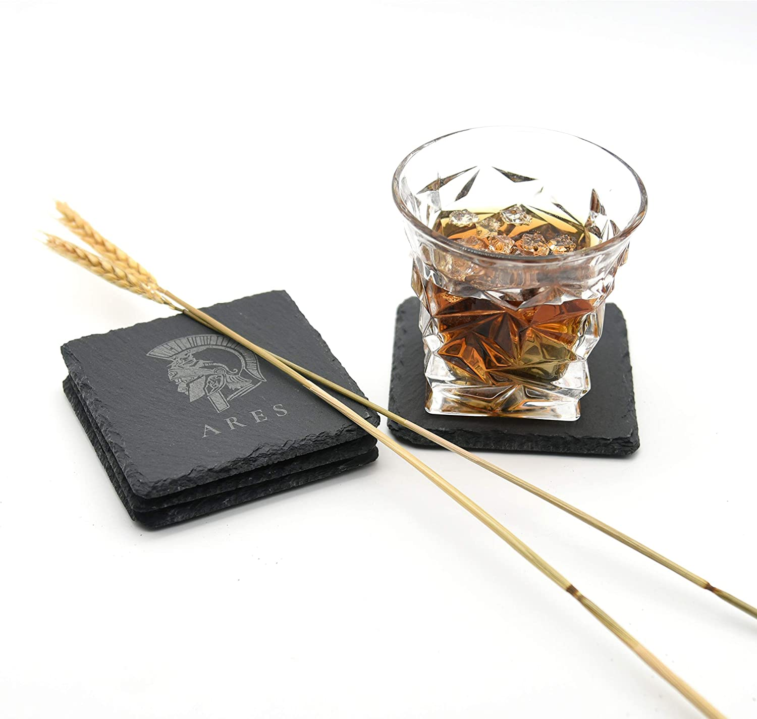 Aphroo Personalized Black Drink Slate Coasters-The Ancient Greek Mythology Series, Suitable for Bar,Home,Office,Kitchen,Holiday Party,3.94