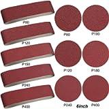 ZHIHU 10 Pieces Aluminum Oxide Sanding Belts - 4 x 36 Inch Sanding Belts (80/120/150/240/400 Grits) and 12 Pieces 6 Inch…