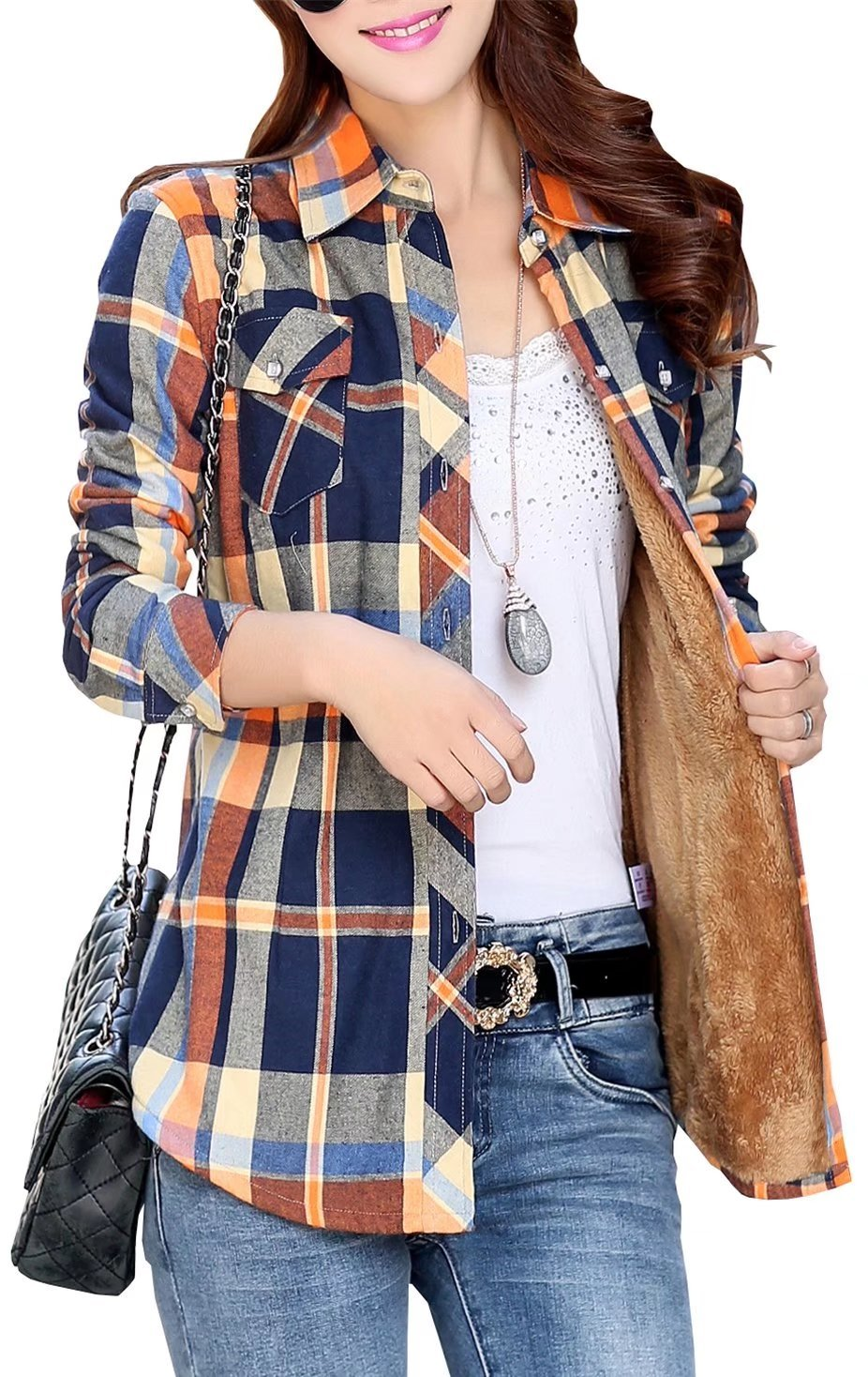 EMAOR Women's Fleece Lined Plaid Flannel Warm Shirt Button Up Blouse Tops