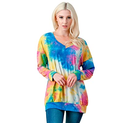 SHOPBOOMY.COM Women's Tie Dye Long Sleeve T-Shirt - Loose Colorful V Neck Top - Regular and Plus Sizes at Women's Clothing store