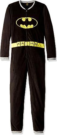 Underboss Mens Batman//Batgirl Hooded Sweatshirt Material Union Suit Pajama