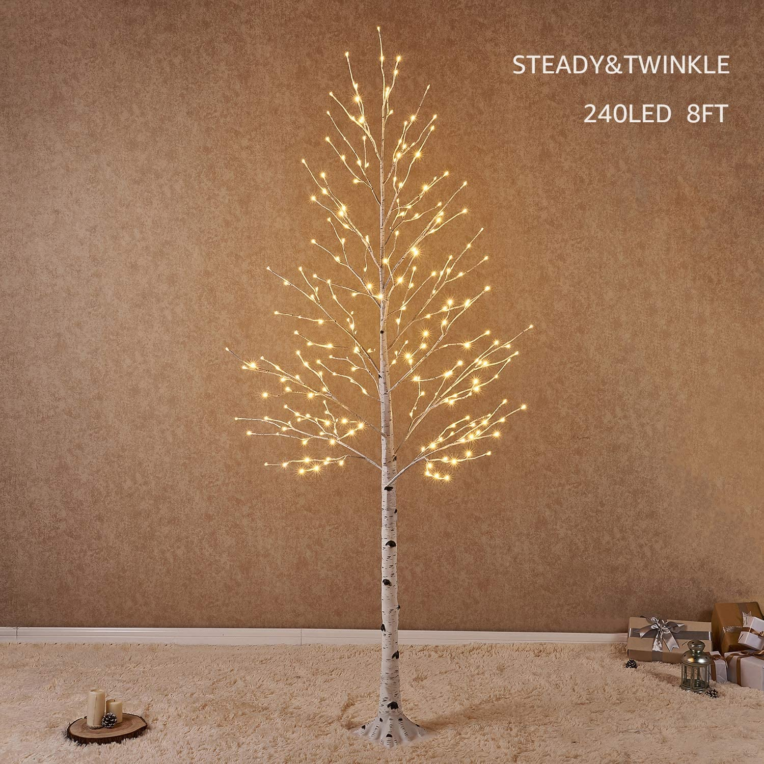 Hairui Pre Lit White Birch Tree 8FT 240L for Christmas Holiday Easter Wedding Party Decorations Tree Plug in Indoor Outdoor Use