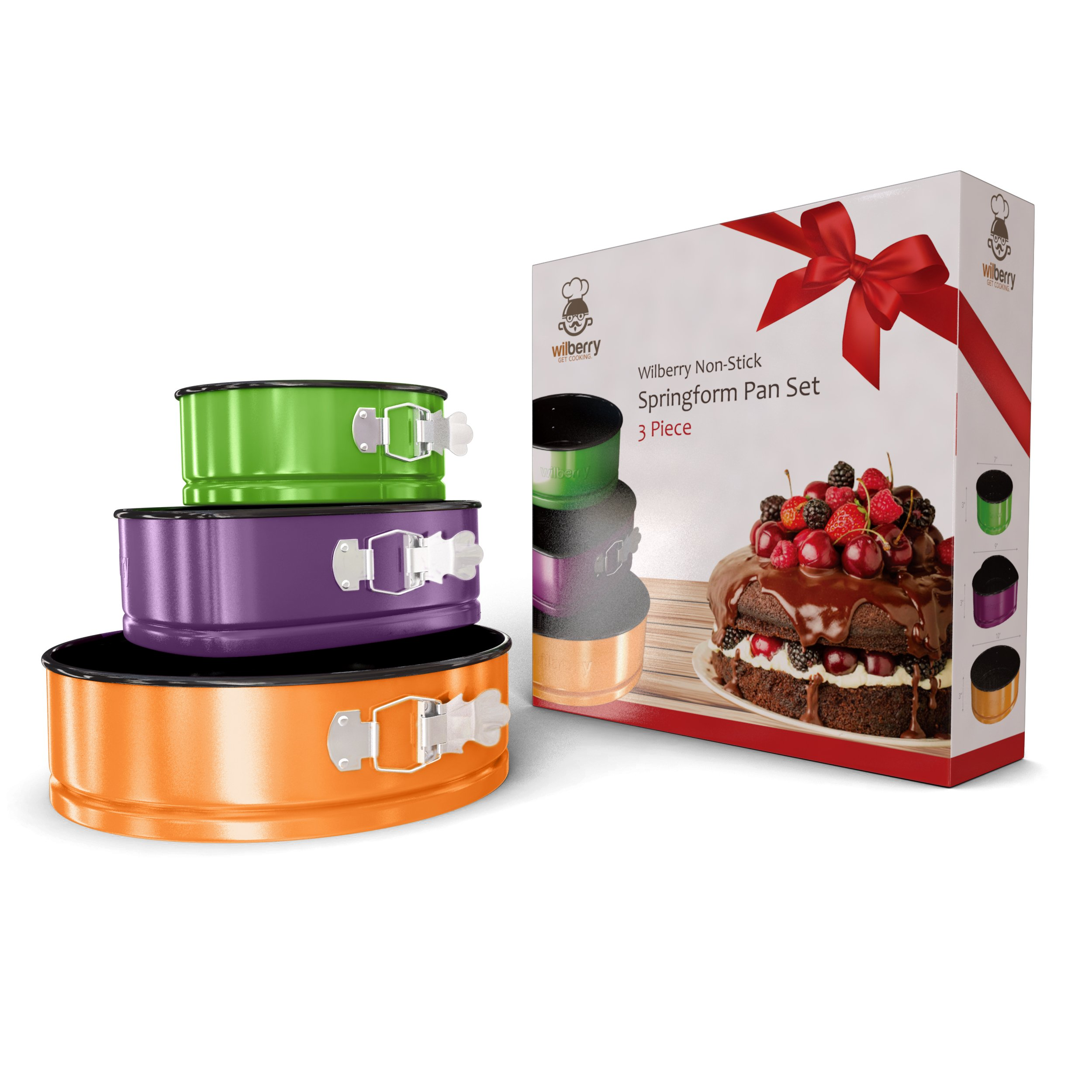 Springform Pans Set of 3   Two Round & One Heart-Shaped Cheesecake Pans   Leak Resistant & Top Rack Dishwasher Safe by Wilberry (Image #7)