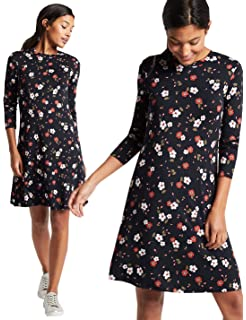 5b4a098021470 Marks and Spencer Ladies Floral Print Long Sleeve Swing Dress M S Collection