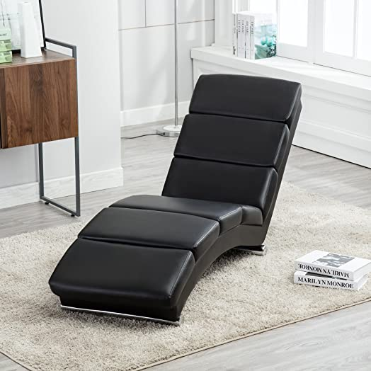 UEnjoy Deluxe Floor Chaise Lounge Leisure Black Sofa Bed Recliner