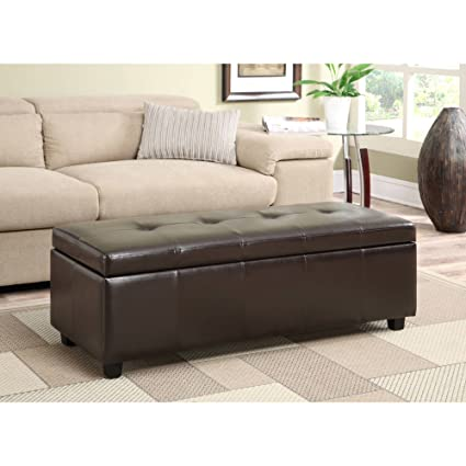 Amazon FLN Large Rectangular Storage Ottoman Bench Both Classy Living Rooms With Ottomans Exterior