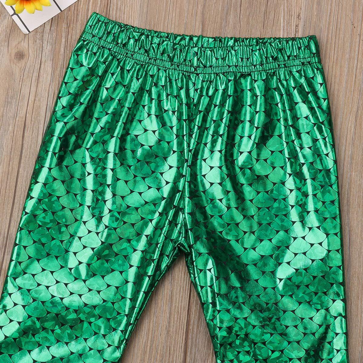 Little Girls Shiny Glittery Mermaid Fish Scale Flare Leggings Bell-Bottom Pants