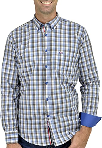 SCOTT MILLER London Camisa Caballero, Hombre Manga Larga Mod. HANS Azul: Amazon.es: Ropa y accesorios