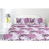 haus & kinder Greek Garden Romance 144 TC 100% Cotton Double Bedsheet King Size (Pink)