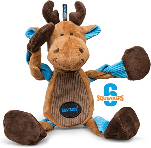 EASTBLUE Reindeer Dog Squeaky Toys: Cute Plush Stuffed Puppy Chew Toy with 6 Squeakers for Small   Medium Breed