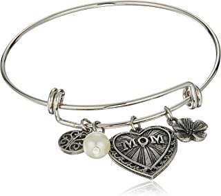 product image for 1928 Jewelry Mother's Day Items Silvertone Wire Mom Bracelet, Silver