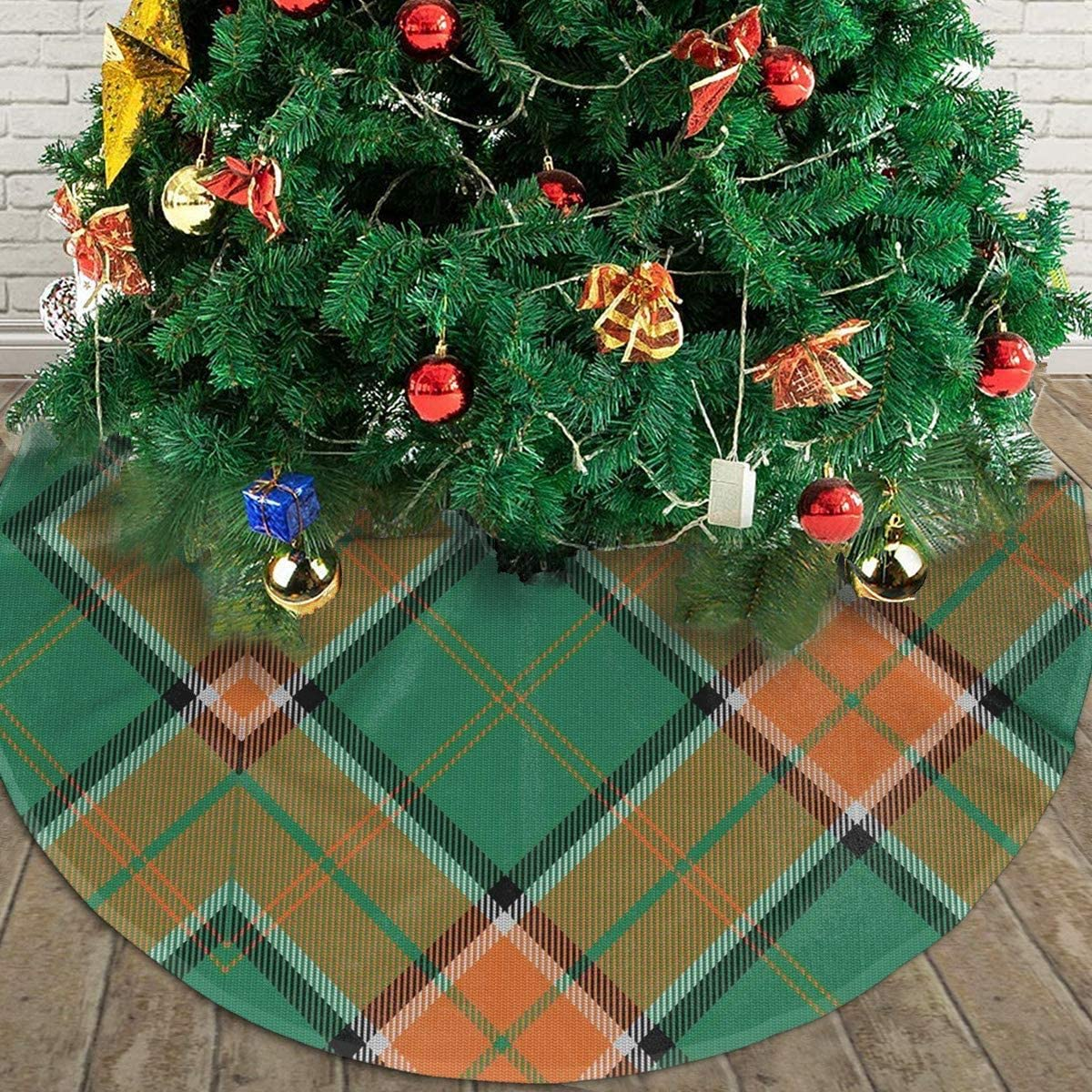 Scots Style Clan Pollock Tartan Plaid Themed Round Christmas Xmas Tree Skirt Carpet Mat Rugs Pad Party Favors Supplies Home Ornament Decoration 30 36 48 Inch Small Big Giant Large