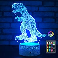 Menzee Dinosaur Toys T Rex Dinosaur Gifts Bedside Lamp Night Light with Remote & Smart Touch 7 Colors + 16 Colors…