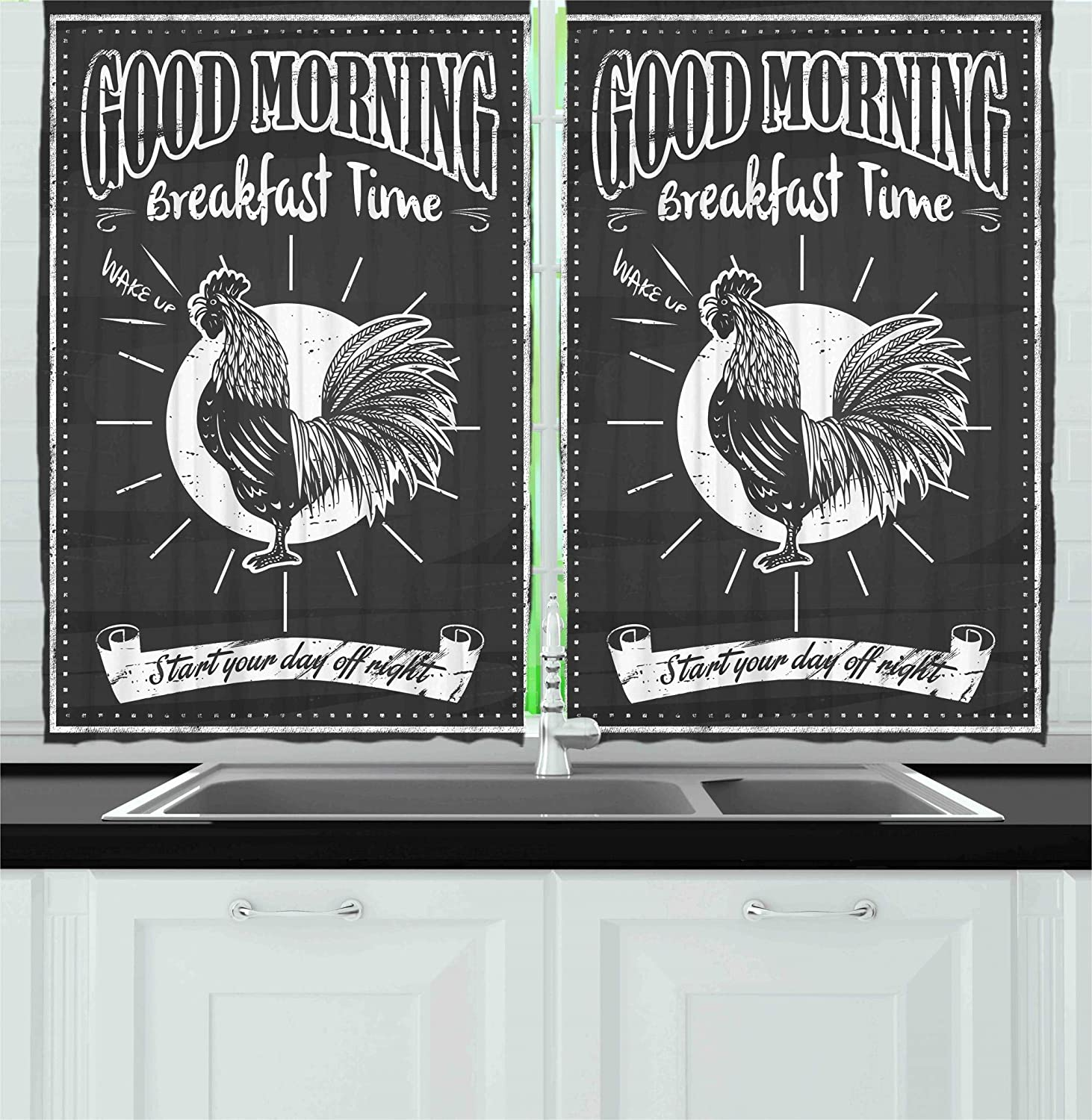Ambesonne Kitchen Decor Collection, Chalkboard Kitchenware Menu Art Morning Rooster Retro Vintage Style Cafe or Home Design, Window Treatments for Kitchen Curtains 2 Panels, 55X39 Inches, Black White