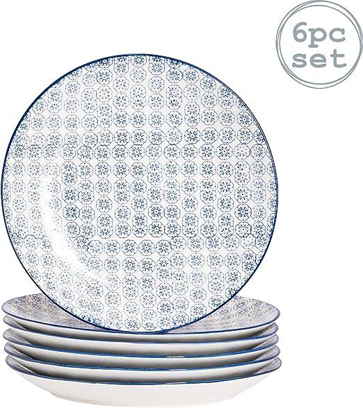 Nicola Spring Plato Llano - Estampado Floral Azul - 255 mm - Pack ...