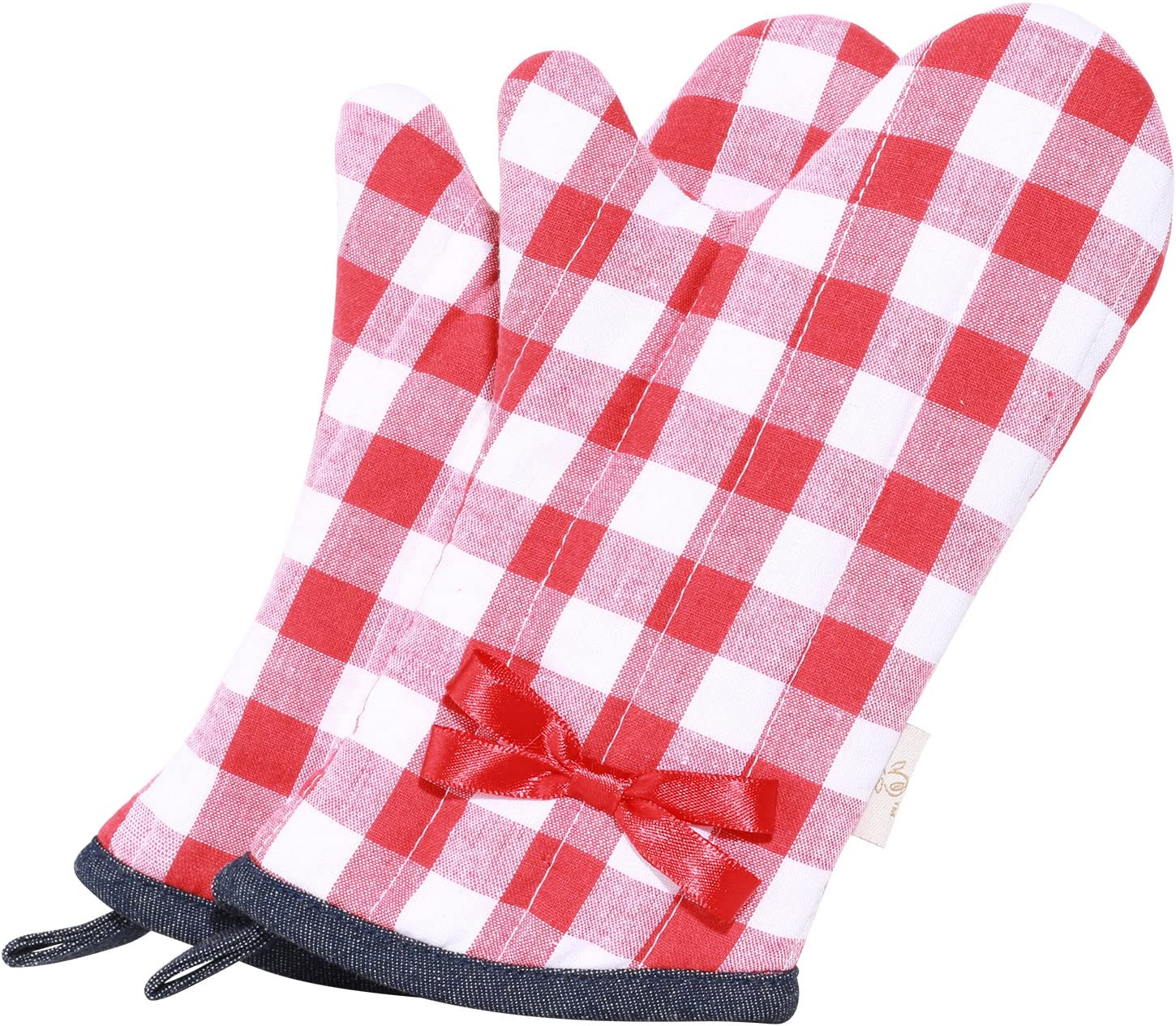 NEOVIVA Cotton Quilting Heat Resistant Oven Mitt for Child, Set of 2, Checked Red