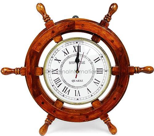 18 Solid Wood Brass Ship Wheel Wall Clock Porthole Nautical Decor Shipwheel 18 Ship Wheel Clock Boat DecorationWooden Nautical Shipwheel with Clock –